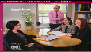 Loyola Chicago School of Law Alumni Robert D. Ahlgren, Leah Duckett, Tess Feldman, and Kathleen M. Vannucci featured in the Loyola Law Magazine