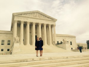 Attorneys Kathleen M. Vannucci and Tess Feldman in front of the U.S. Supreme Court in Washington D.C.